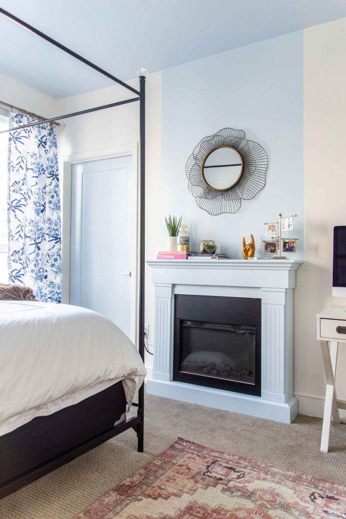 Behr Waterfall serene light blue wall color and blue ceiling paint in a bedroom by Kevin O'Gara #blueceiling #bluepaint #waterfall #lightblue #blueandwhite #bedroom #bedroomdesign #interiordesign #homedecorideas