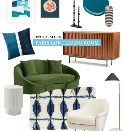 Get the look: colorful loft living room in Paris, France with green curved sofa, teal accent wall, patterned carpet, skylights, and a window wall on Thou Swell #livingroom #paris #colorful #colorfuldesign #livingroomdesign #parisloft #parisapartment #parisstyle #frenchstyle #frenchinterior #parishome #frenchhome #parisian #parisianstyle #loftdesign #homedecor