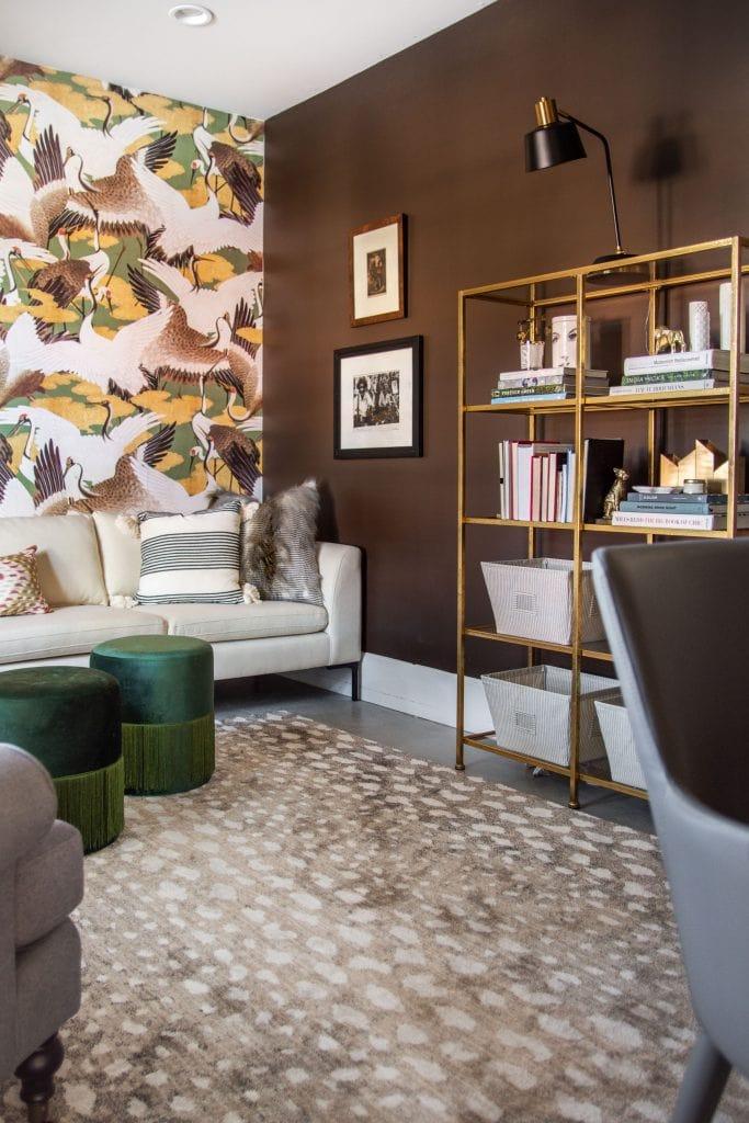 Behr Dark Truffle, best chocolate brown wall paint color, dark brown walls in living room study design by Kevin O'Gara #brown #brownpaint #brownwalls #darkbrown #darktruffle #behrpaint #chocolatebrown #paintcolors #paintideas #painting #wallcolors