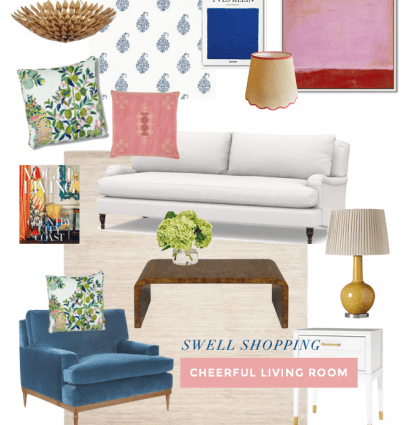A cheerful, colorful living room design in Greenville, South Carolina - shop the home decor ideas on Thou Swell #colorfuldecor #colorfuldesign #livingroomdecor #livingroomdesign #livingroom #interiordesign #homedecorideas