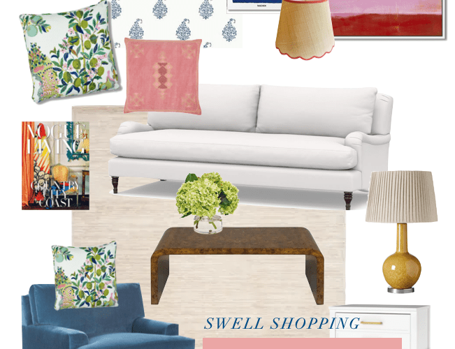 A cheerful, colorful living room design in Greenville, South Carolina - shop the home decor ideas on Thou Swell #colorfuldecor #colorfuldesign #livingroomdecor #livingroomdesign #livingroom #interiordesign #homedecorideas