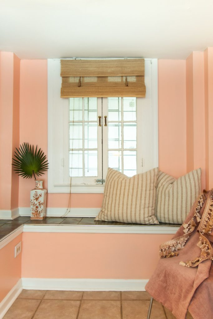 Pop peach pink paint color by Clare on Thou Swell #pinkpaint #clarepaint #paintcolor #paintingideas #painting #wallpaint #homedecor #homedecorideas