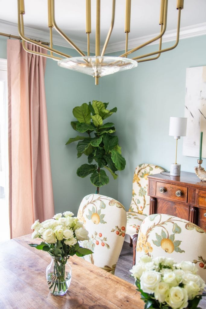 Clare Headspace, one of the prettiest light blue-green paint colors, airy blue dining room design by Kevin O'Gara #diningroom #paintcolors #blueroom #bluepaint #greenpaint #diningroomdesign #interiordesign #homedecorideas #homedecor