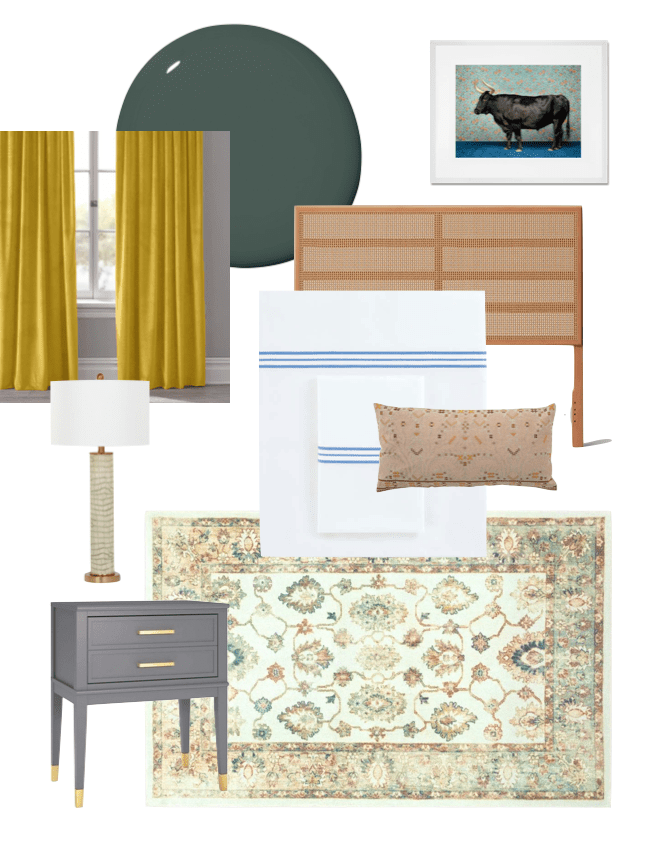 Terrace Drive Project bedroom design board by Kevin O'Gara on Thou Swell with dark green paint, yellow curtains, blue bedding, and vintage style rug