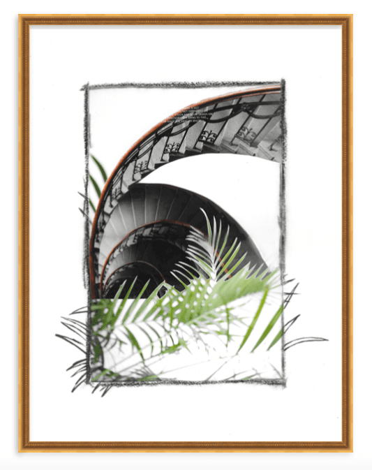 Mixed media collage art print by Kevin Francis Design with palm, staircase, charcoal drawing #artprint #artwork #wallart