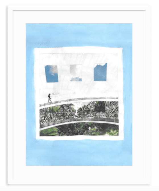 Blue and white mixed media collage fine art print by Kevin Francis Design #artprint #artwork #wallart