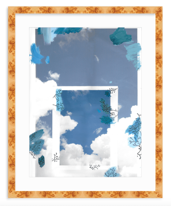 Clouds blue and white mixed media collage fine art print by Kevin Francis Design #artprint #artwork #wallart