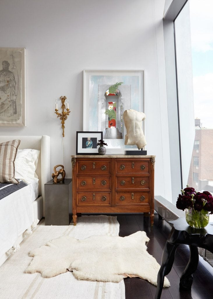 Collage art print by Kevin Francis Design in a New York City bedroom #artprint #artwork #wallart