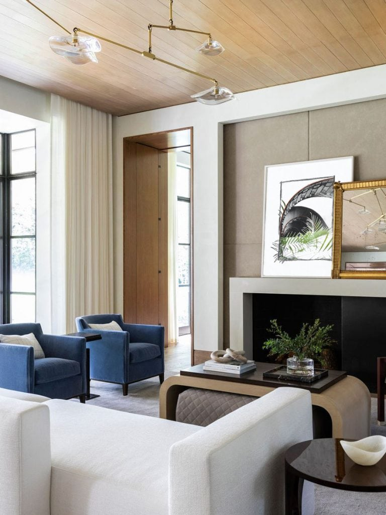 Art print collage by Kevin Francis Design in a contemporary living room design in Houston #artprint #artwork #wallart