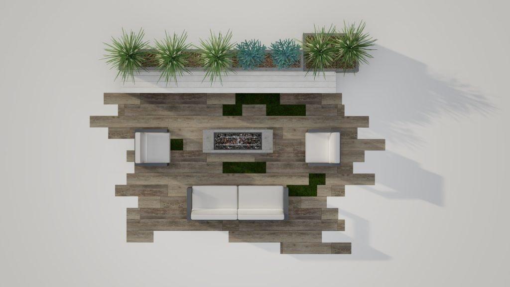Belgard outdoor living room with firepit