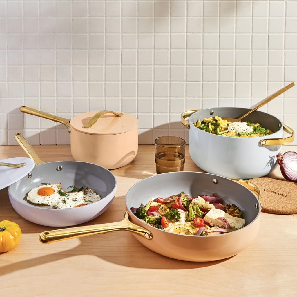 Caraway limited-edition full bloom pastel cookware with gold handles on Thou Swell #caraway #cookware #pastel #cooking #kitchen #kitchendesign